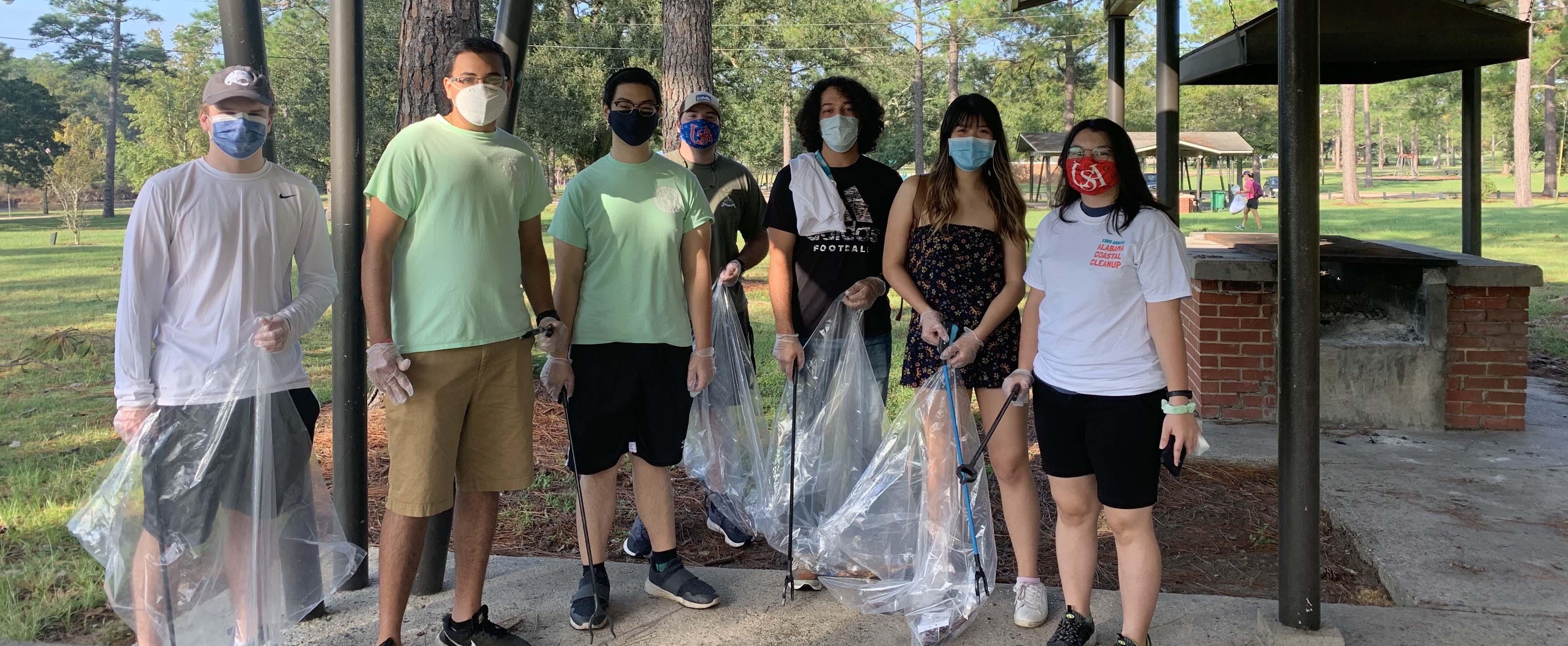 AED 2020-2021 members preparing to help clean Langan Park during Alabama's Coastal Cleanup