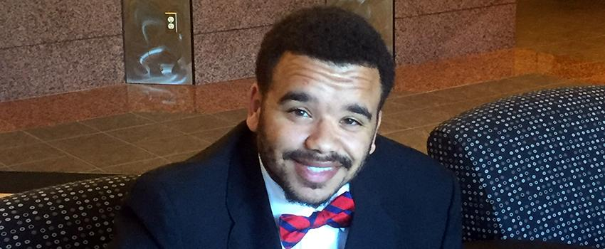 Tylan Hardin, student, before his mock interview