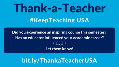 Did you experience an inspiring course this semester? Has an educator influenced your academic career? Let them know!