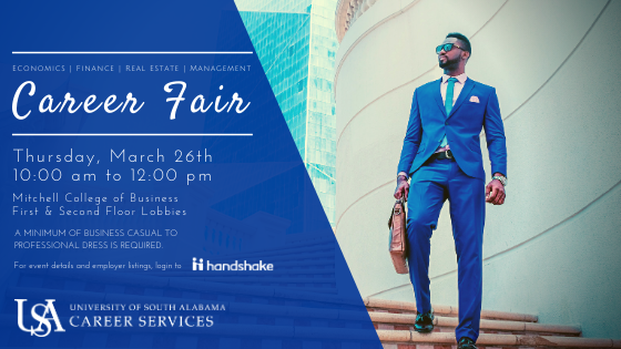Students and alumni are invited to meet with industry professionals to discuss full-time jobs, part-time jobs, and internship positions in areas related to business. This is an excellent opportunity that provides awareness of organizations and their hiring needs. Please register through your Handshake account to attend the career fair. You will be required to check-in at this event in order to receive your name tag and credit for attendance.