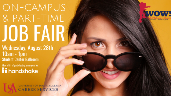 Students seeking part-time employment are encouraged to attend this event to meet local area employers and USA campus representatives to hear about current job opportunities. This job fair is open to USA students and all majors are welcome.