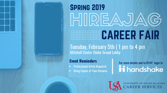 The HireAJag Career Fair is held semi-annually during the fall and spring semesters. This fair is a university-wide event open to all majors. The career fair provides the opportunity for employers, students, and alumni to network and discuss full-time, co-op, and internship positions.
