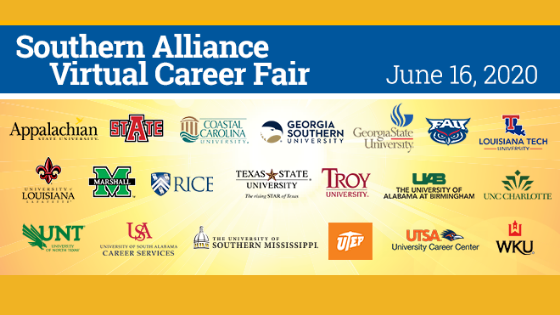 Students and alumni from the southern region are encouraged to attend the Southern Alliance Virtual Career Fair.  We encourage you to register in advance, be prepared with an updated resume and make sure to test your video/audio equipment prior to the start of the event.  For additional preparation advice visit virtual career fair and career fair preparation.