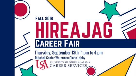 HireAJag Fall Career Fair will be September 13th from 1pm to 4pm in the Mitchell Center Waterman Globe Lobby