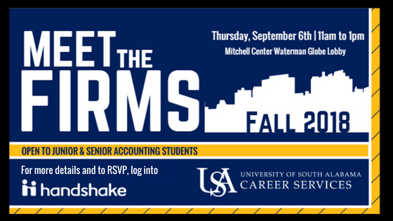 Meet the Firms will be September 6th from 11am - 1pm in the Mitchell Center Waterman Globe Lobby