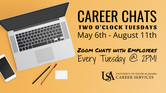 This LIVE Zoom series features organizations such as Airbus, Peace Corps, AM/NS, Fastenal, US Army, & many more. These weekly summertime Career Chats are designed to connect students with employer representatives. This all-major series allows students to ask questions and receive valuable feedback from industry professionals. Additionally, registration is not required and students are free to come-and-go within the hour. We encourage students who are seeking full-time, co-op, or internship opportunities to join us! For a full list of employer participants and details, view our event page in Handshake.