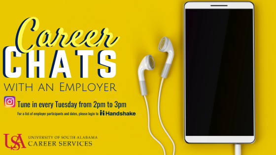 Looking for answers? This is your opportunity to ask questions & get tips for landing your next career position. LIVE on Career Services' Instagram from an EMPLOYER representative! This is a come-and-go chat & registration not required