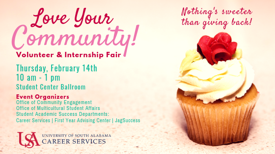 Students interested in internship and volunteer opportunities are encouraged to attend this event to meet local area employers and organizations  to hear about their upcoming opportunities. This job fair is open to USA students and all majors are welcome.