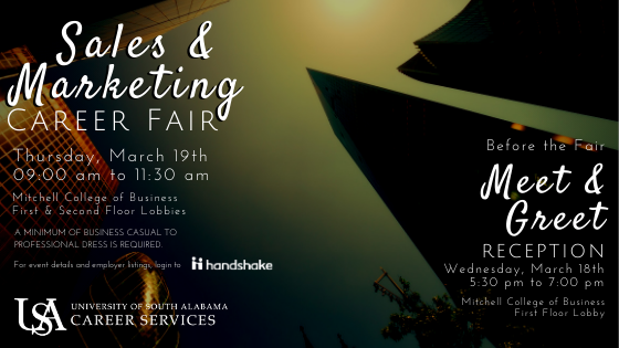 Students and alumni are encouraged to meet with industry professionals to discuss full-time jobs and internship positions in areas related to Sales and Marketing. This event will be held in the Mitchell College of Business. Please RSVP to attend.