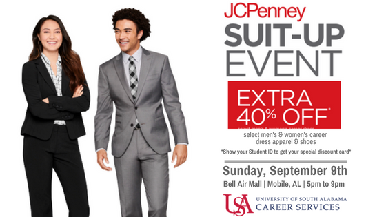 JCPenney Suit Up Event will be Sunday, September 9th.  Bell Air Mall | Mobile, AL | 5pm to 9pm