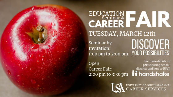 The Education Seminar and Career Fair is held semi-annually during the fall and spring semesters. This event is targeted for students seeking teaching positions and other education-related opportunities.