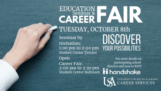 The Education Seminar and Career Fair is held semi-annually during the fall and spring semesters. This event is targeted for students seeking teaching positions and other education-related opportunities