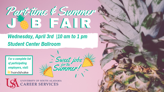 Students interested in part-time employment are encouraged to attend this event to meet local area employers and USA campus representatives to hear about their current hiring needs. This job fair is open to USA students and all majors are welcome.