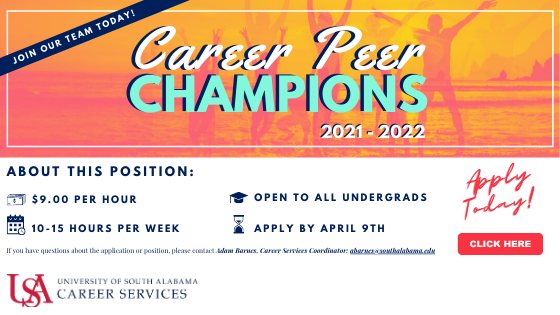 Career Peer Champions support the mission of USA Career Services by expanding the Career Center's ability to reach students. This paid position is a great opportunity for students to gain experience related to the key competencies of career readiness.