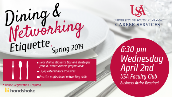 This program is designed to teach you how to network while dining in a professional buffet setting. Professional attire is required of all participants.