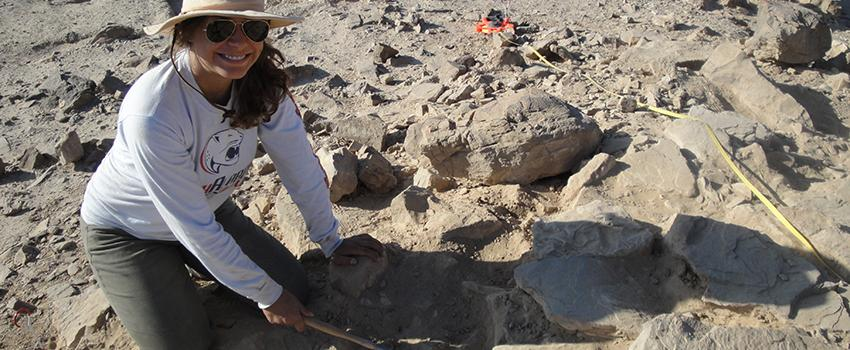 Student working in archaeology on a site