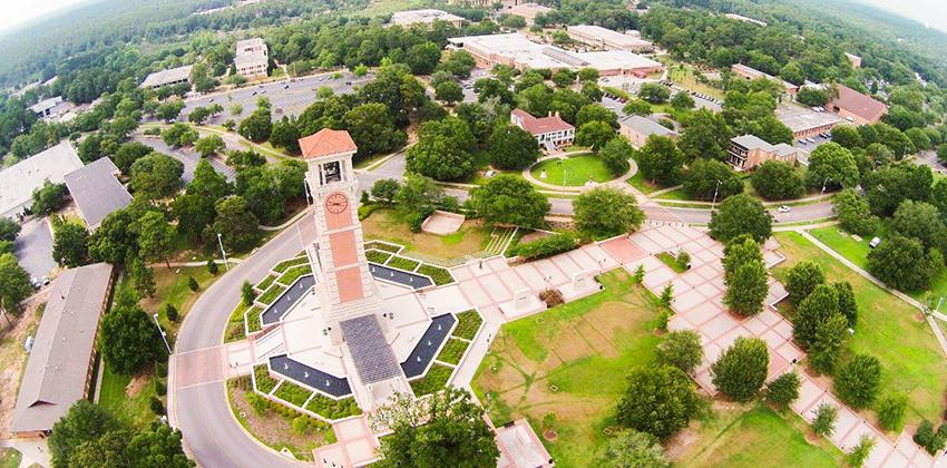 Arial shot of campus with tower