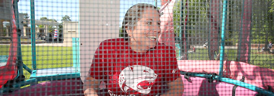 Kristin Odom in the dunk booth