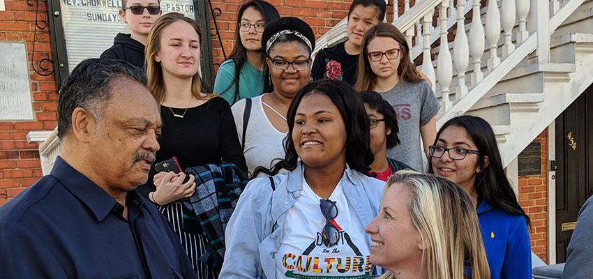 Jesse Jackson at Montgomery with Honors students