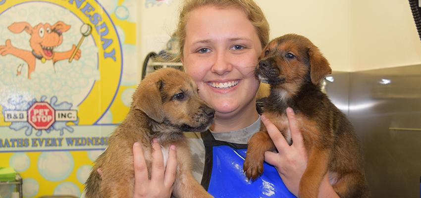 Female student holding two puppies
