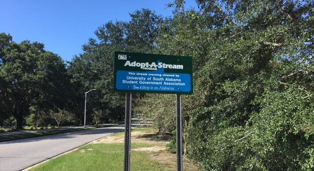 Adopt-A-Stream sign placed near the entrance to the Glenn Sebastian Nature Trail