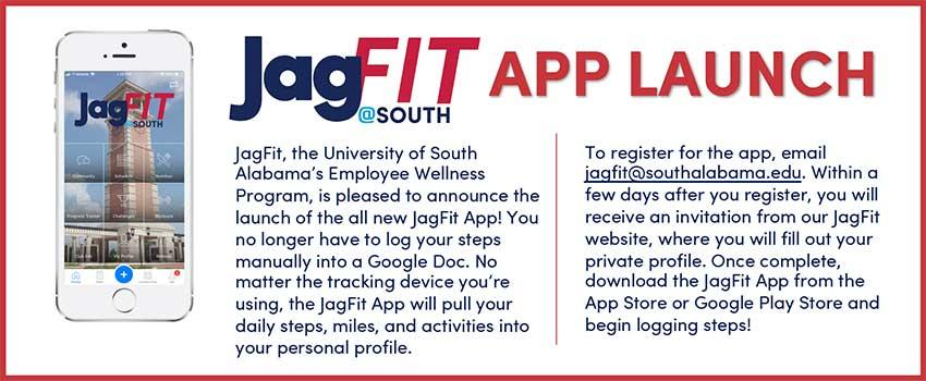Email jagfit@southalabama.edu to register for the app