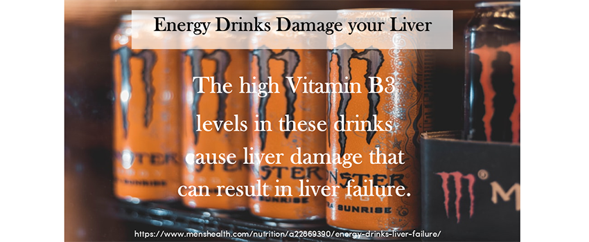 Image of Energy drinks with text over it stating: Energy Drinks Damage your Liver. The high Vitamin B3 levels in these drinks cause liver damage that can result in liver failure. Image linked to full article.