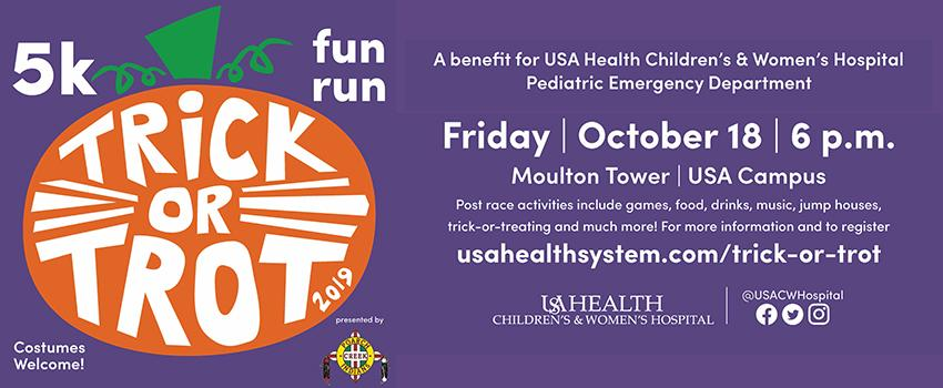 Trick or Trot 5 K October 18 at 6 pm. This image is linked to page with all information.