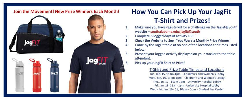 How you can pick up your JagFit T-shirt and Prizes with man wearing JagFit tshirt and picture of water bottles and bag
