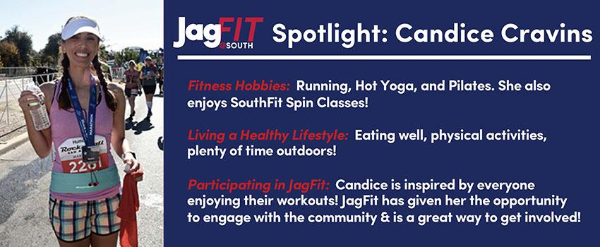 JagFit Spotlight: Candice Cravins with an image of Candice at a race and information on how she stays healthy