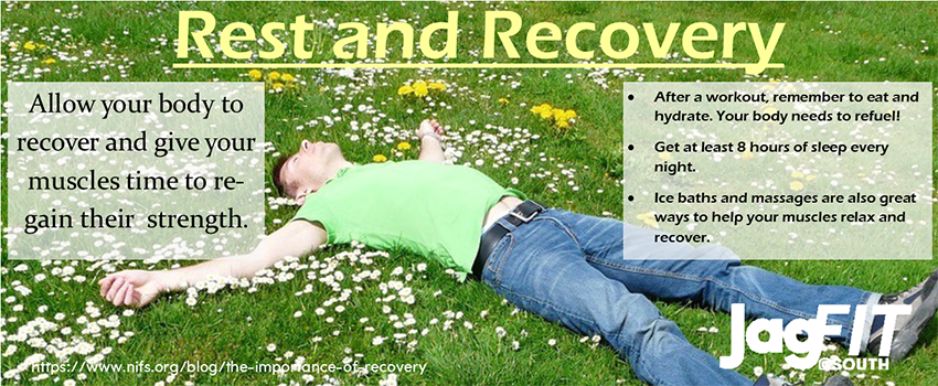 Man lying on grass with text Allow your body to recover and give your muscles time to regain their strength.