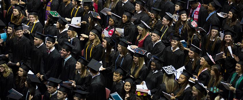 Students in cap and gowns.