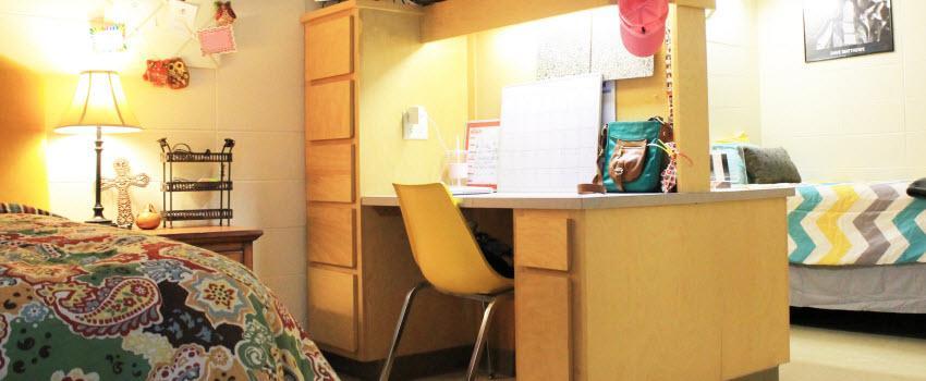 desk area in sorority house room