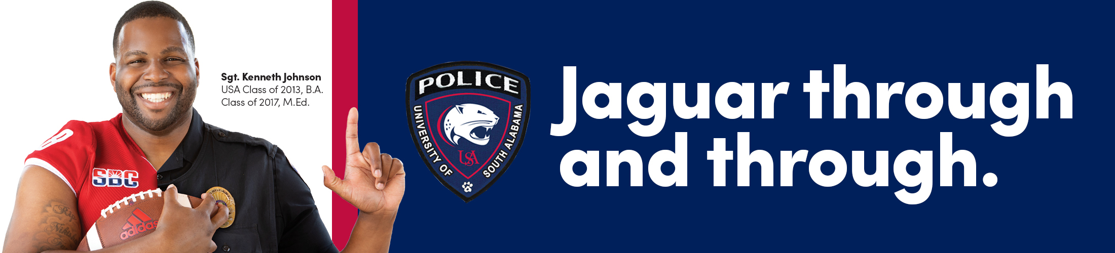 Officer Johnson with text Jaguar Through and through