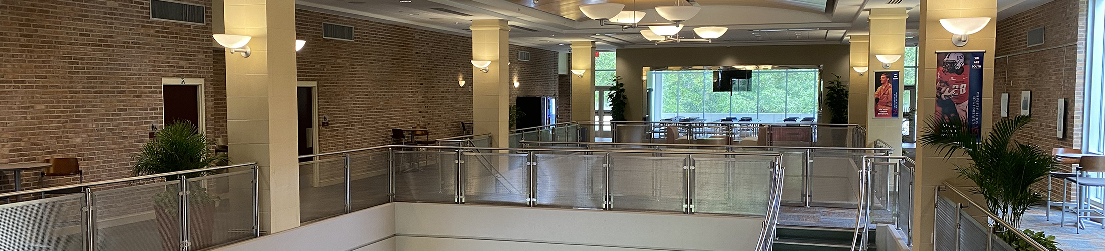 Student Center center with stairs and seating.