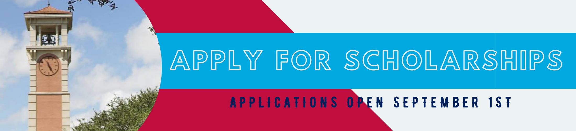 Apply for Scholarships Applications Open September 1st