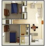 Beta/Gamma 2 Bedroom Apt. for 2 (top view)