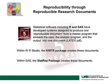 Reproducibility through Reproducible Research Documents