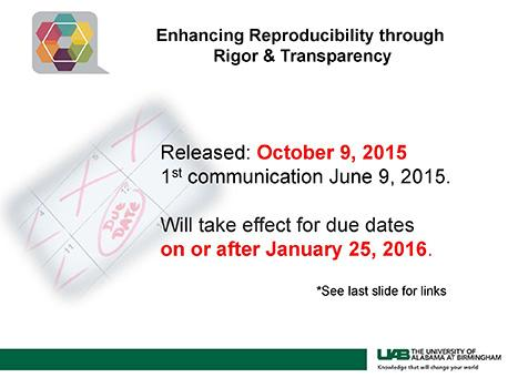 Enhancing Reproducibility through Rigor & Transparency