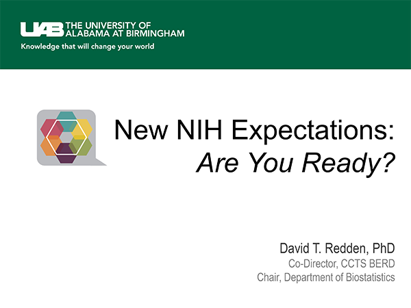 New NIH Expectations: Are You Ready? Presentation Slide