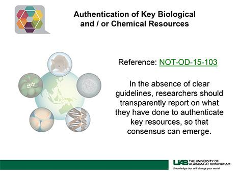 Authentication of Key Biological and / or Chemical Resources