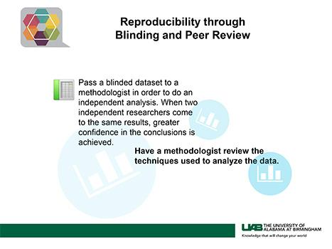 Reproducibility through Blinding and Peer Review