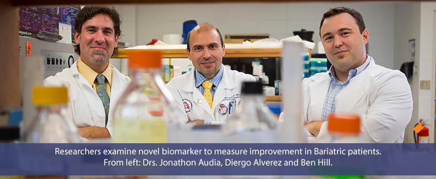 Researchers examine novel biomarker to measure improvement in Bariatric patients. From left: Drs. Jonathon Audia, Diego Alverez and Ben Hill