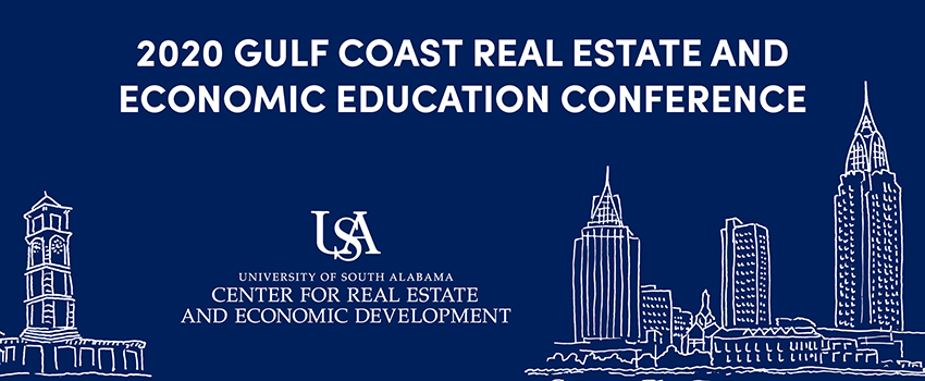 2020 Gulf Coast Real Estate and Economic Education Conference with downtown Mobile depicted