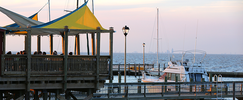 Fairhope pier with boats at dock