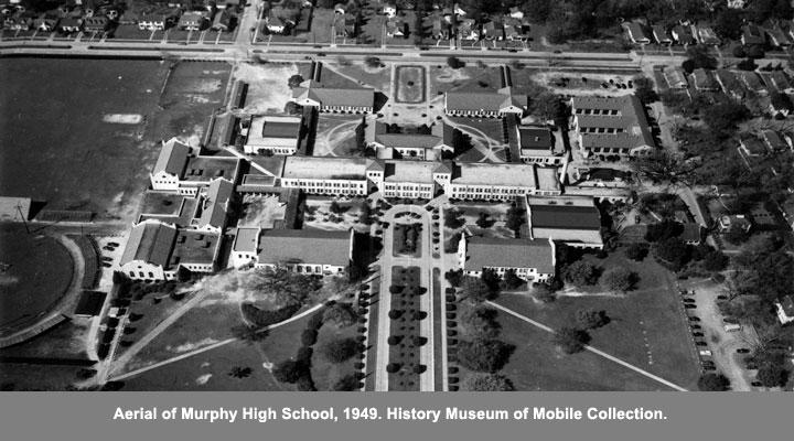 Aerial of Murphy High School, 1949.