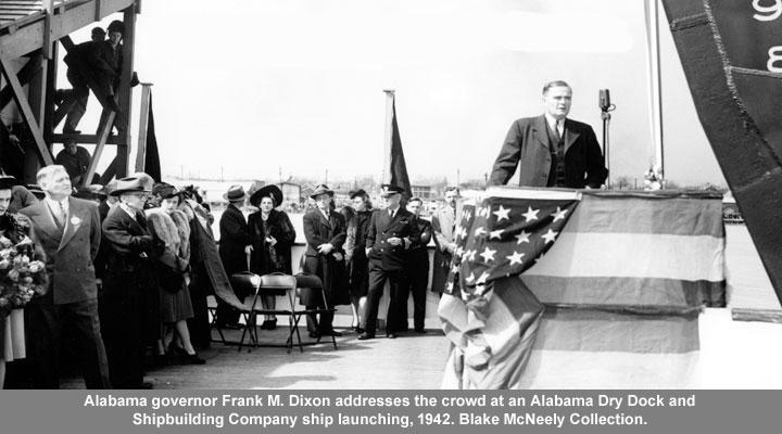 Alabama governor Frank M. Dixon addresses Alabama Dry Dock circa 1942