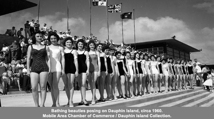 Bathing Beauties posing on Dauphin Island, Circa 1960
