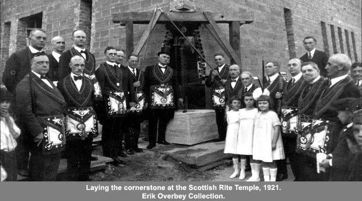 Laying the cornerstone at the Scottish Rite Temple, 1921