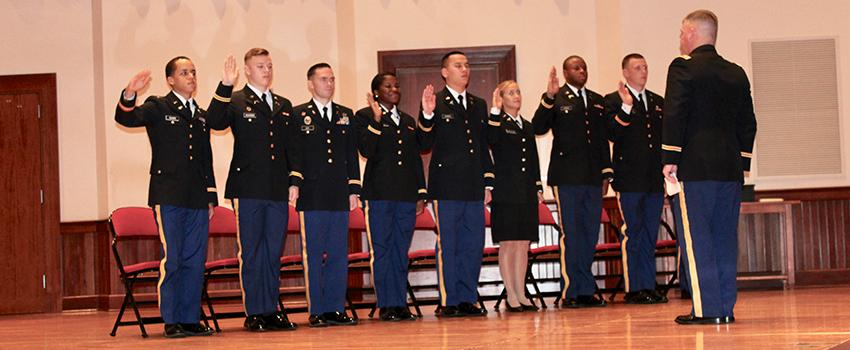 Officers in the Army being sworn in